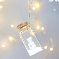 Sass & Belle Teddy in a Bottle Hanging Decoration