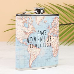 Personalised Sass & Belle 'Adventure' Map Hip Flask