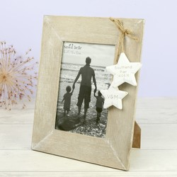 Personalised Sass & Belle Wooden Photo Frame with Hanging Stars