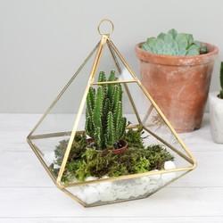 Sass & Belle Hanging Brass Pyramid Terrarium