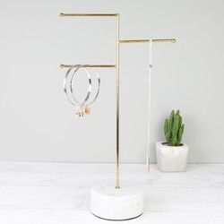 Sass & Belle Brass and Marble Jewellery Stand