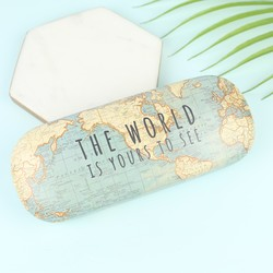 Map Print Glasses Case