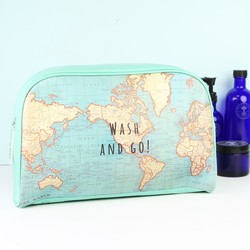 Sass & Belle 'Wash and Go' Map Wash Bag