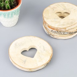 Sass & Belle Set of 4 Wooden Log Heart Coasters