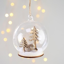 Sass & Belle Snowy Squirrel Scene Dome Bauble