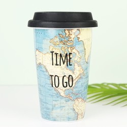 Sass & Belle 'Time To Go' Map Travel Mug