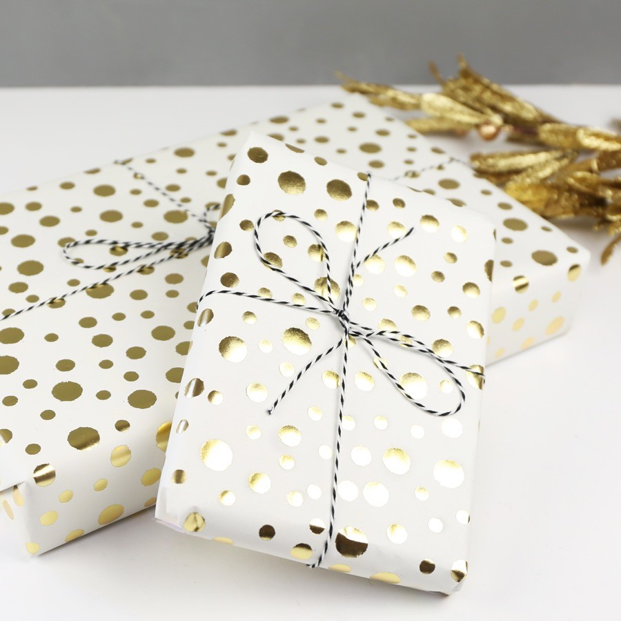 Metallic Gold Confetti Wrapping Paper |Gift Wrap | Lisa Angel