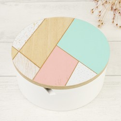 Round Geometric Patterned Jewellery Box