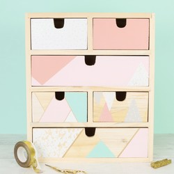 Wooden Geometric Patterned Storage Drawers