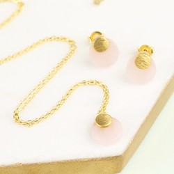 Round Rose Quartz Necklace and Earring Set