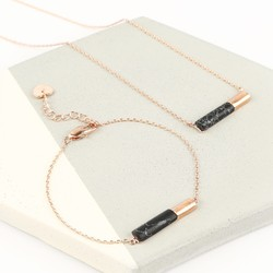 Black Marble and Rose Gold Tube Pendant Jewellery Set