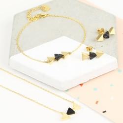 Black Marble Triple Triangle Pendant Jewellery Set