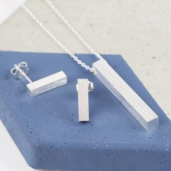 Brushed Silver Bar Necklace and Earring Set