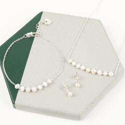 Freshwater Pearl Silver Chain Jewellery Set