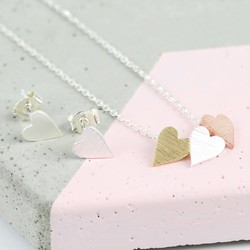 Mixed Metal Heart Necklace and Earring Set