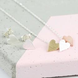 Mixed Metal Heart Jewellery Set