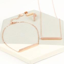 Rose Gold Horizontal Bar Jewellery Set
