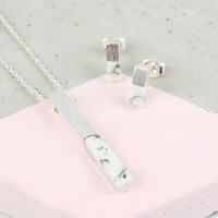 White Marble and Silver Bar Necklace and Earring Set