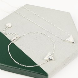 White Marble and Silver Triangle Pendant Jewellery Set