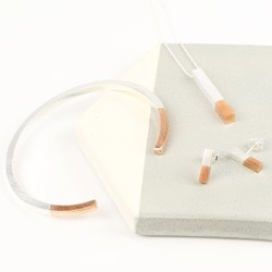 Silver Dipped in Rose Gold Bar Jewellery Set