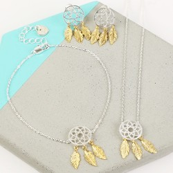 Silver and Gold Dreamcatcher Jewellery Set