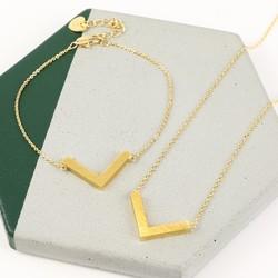 Small Gold Chevron Jewellery Set