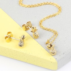 Tiny Delicate Gold Pineapple Necklace and Earring Set