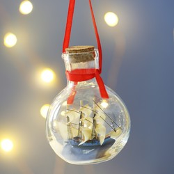 Ship in a Bottle Hanging Decoration