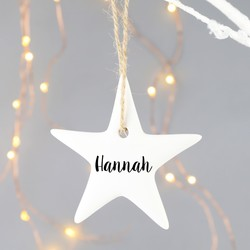 Personalised White Porcelain Star Hanging Decoration