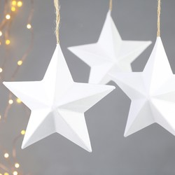 Set of 6 Recycled Paper Hanging Stars