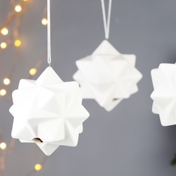 Set of 3 Geometric White Ceramic Baubles