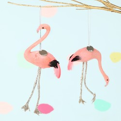 Set of 2 Personalised Flamingo Hanging Decorations