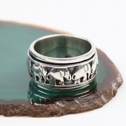 Sterling Silver Spinning Elephant Ring