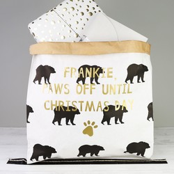 Personalised 'Paws Off' Small Christmas Santa Sack for Dogs