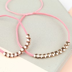 Personalised Rose Gold Hearts Friendship Bracelet