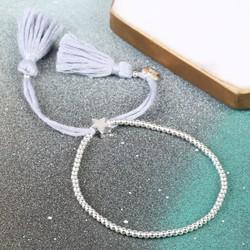 Dainty Links Star Bracelet in Grey & Silver