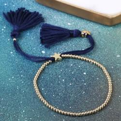 Dainty Links Star Bracelet in Navy & Gold