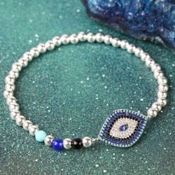 Diamanté Evil Eye Beaded Bracelet in Silver