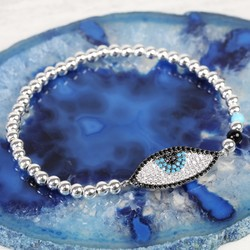 Diamanté Eye Beaded Bracelet in Silver