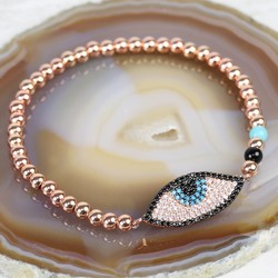Diamanté Eye Beaded Bracelet in Rose Gold