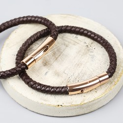 Engraved Men's 'Trigger Happy' Leather Bracelet in Brown and Rose Gold