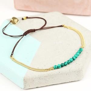 Green stone Chain friendship Bracelet