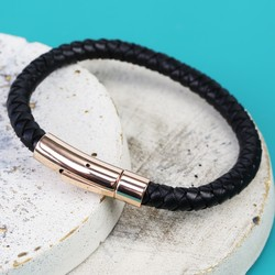 Men's 'Trigger Happy' Leather Bracelet in Black and Rose Gold