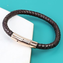 Men's 'Trigger Happy' Leather Bracelet in Brown and Rose Gold