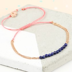 Navy and Rose Gold Lapis Bead Friendship Bracelet