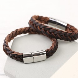 Men's Thick Brown Woven Leather Bracelet