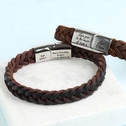 Personalised Men's Thick Brown Woven Leather Bracelet
