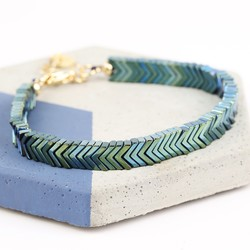 Semi-Precious Hematite Chevron Stone Bracelet