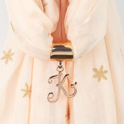 Rose Gold Initial Charm Scarf Ring