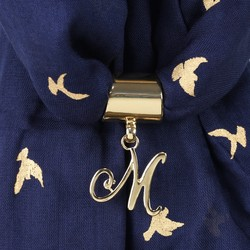 Gold Initial Charm Scarf Ring